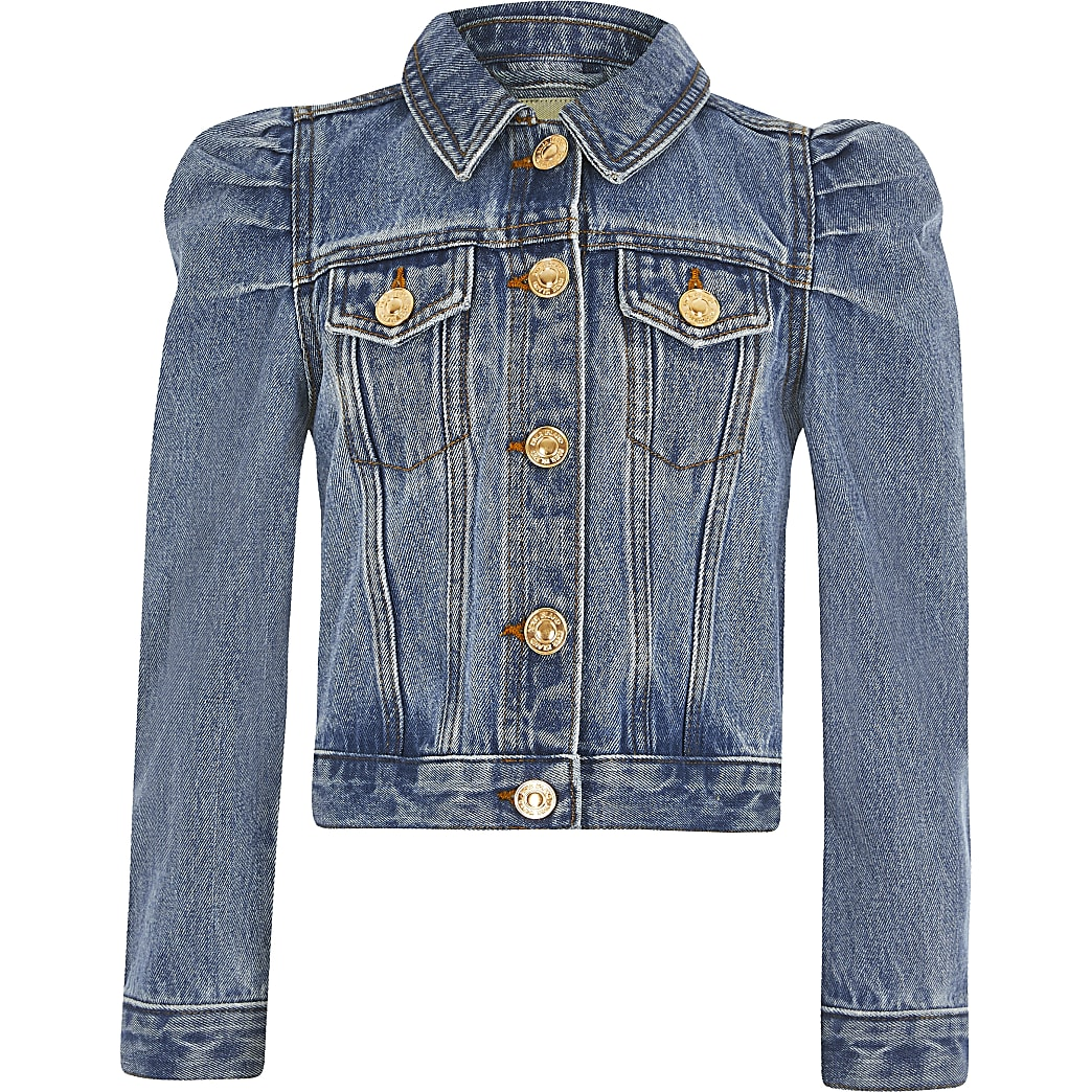Girls blue puff sleeve denim jacket