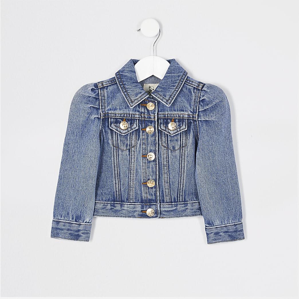 Mini – Blaue Jeansjacke mit Puffärmel für Mädchen