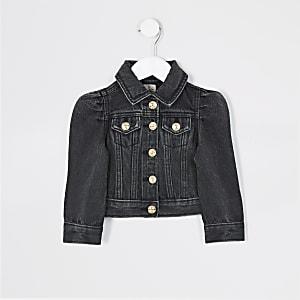 Mini – Schwarze Jeansjacke mit Puffärmeln für Mädchen
