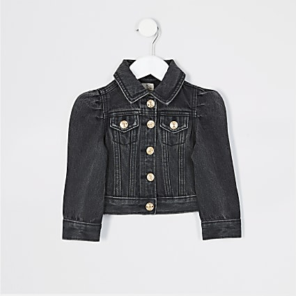 Mini girls black puff sleeve denim jacket
