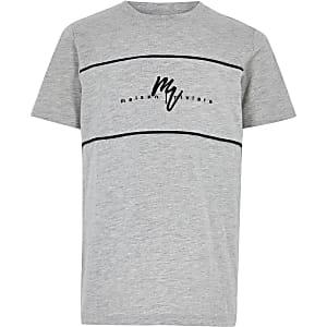 Maison Riviera - Grijs T-shirt met kleurvlakken voor jongens