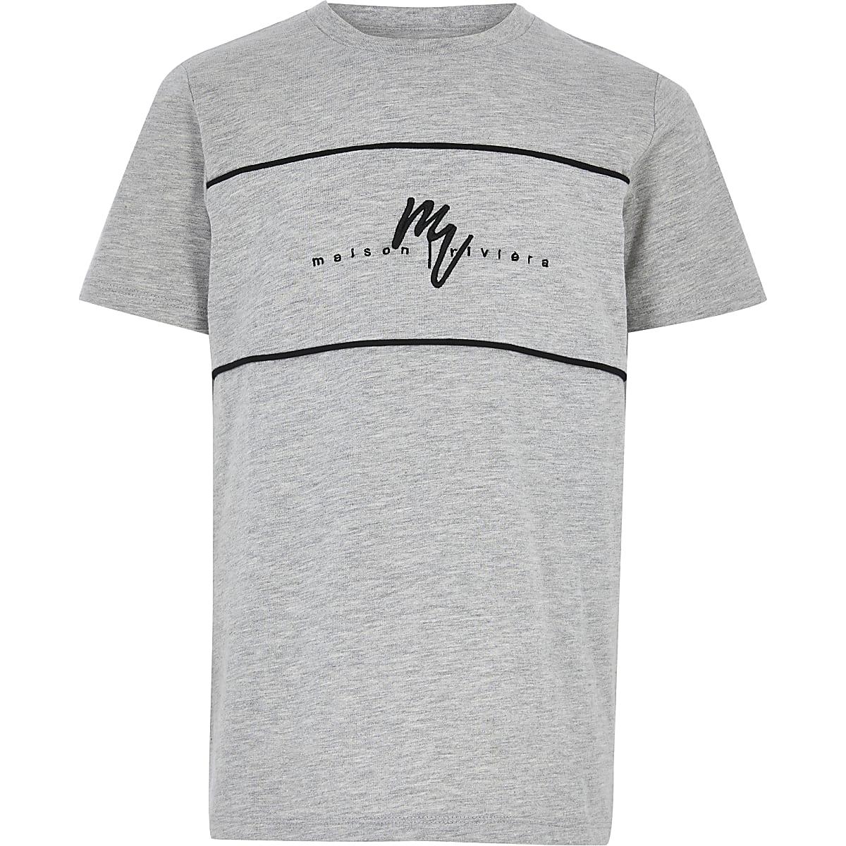 Boys grey Maison Riviera block T-shirt