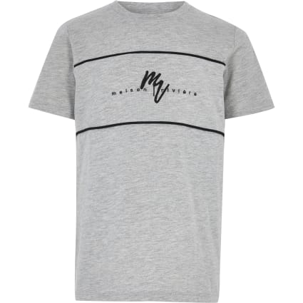 Boys grey Maison Riviera block T-shirt