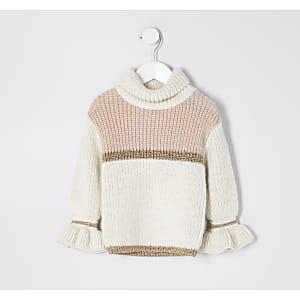 Beigefarbener Pullover mit Colour-Block für kleine Mädchen
