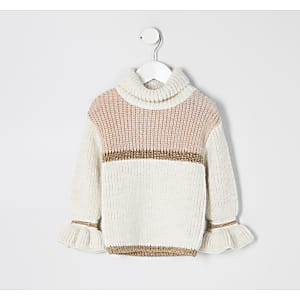 Pull beige colour block Mini fille