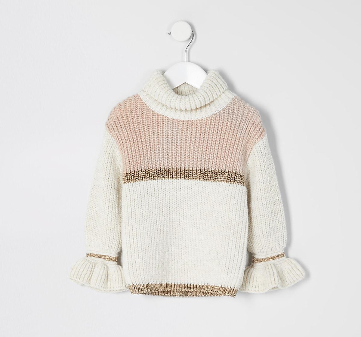 Mini girls beige colour block jumper