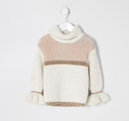 Mini girls beige colour block jumper