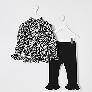 Mini - Outfit met zwarte blouse met ruches en pied-de-poule-motief voor meisjes