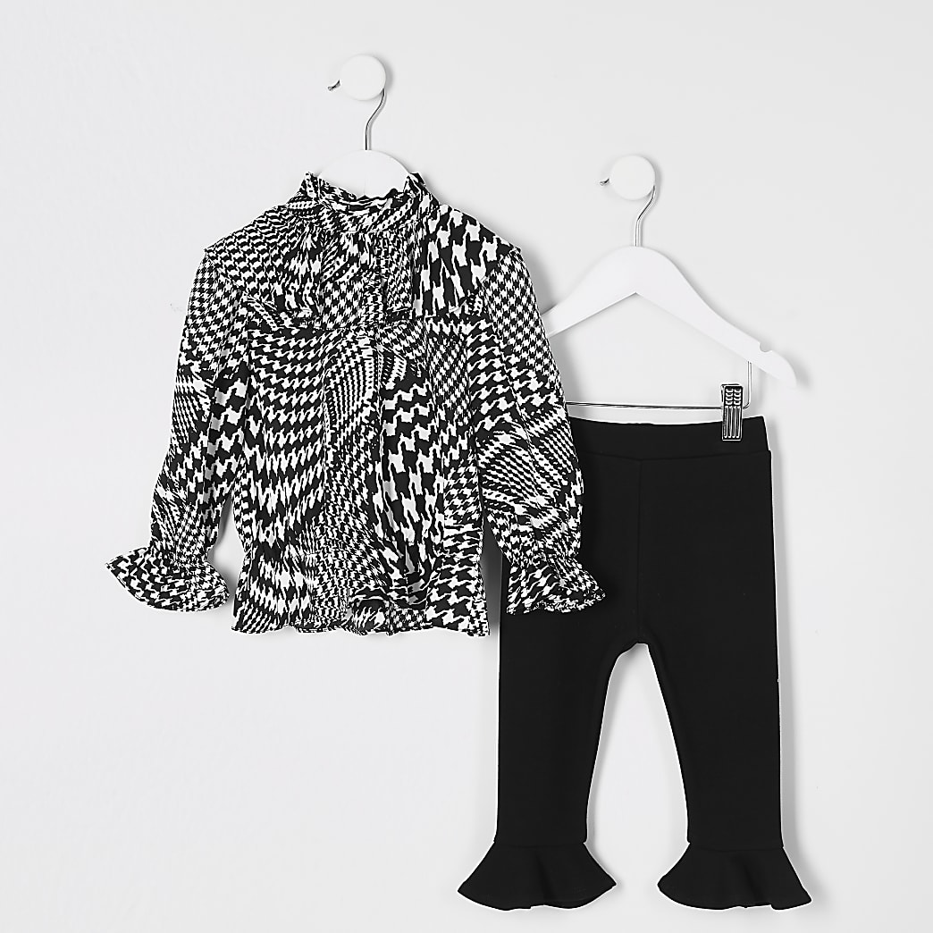Mini girls black dogtooth frill blouse outfit