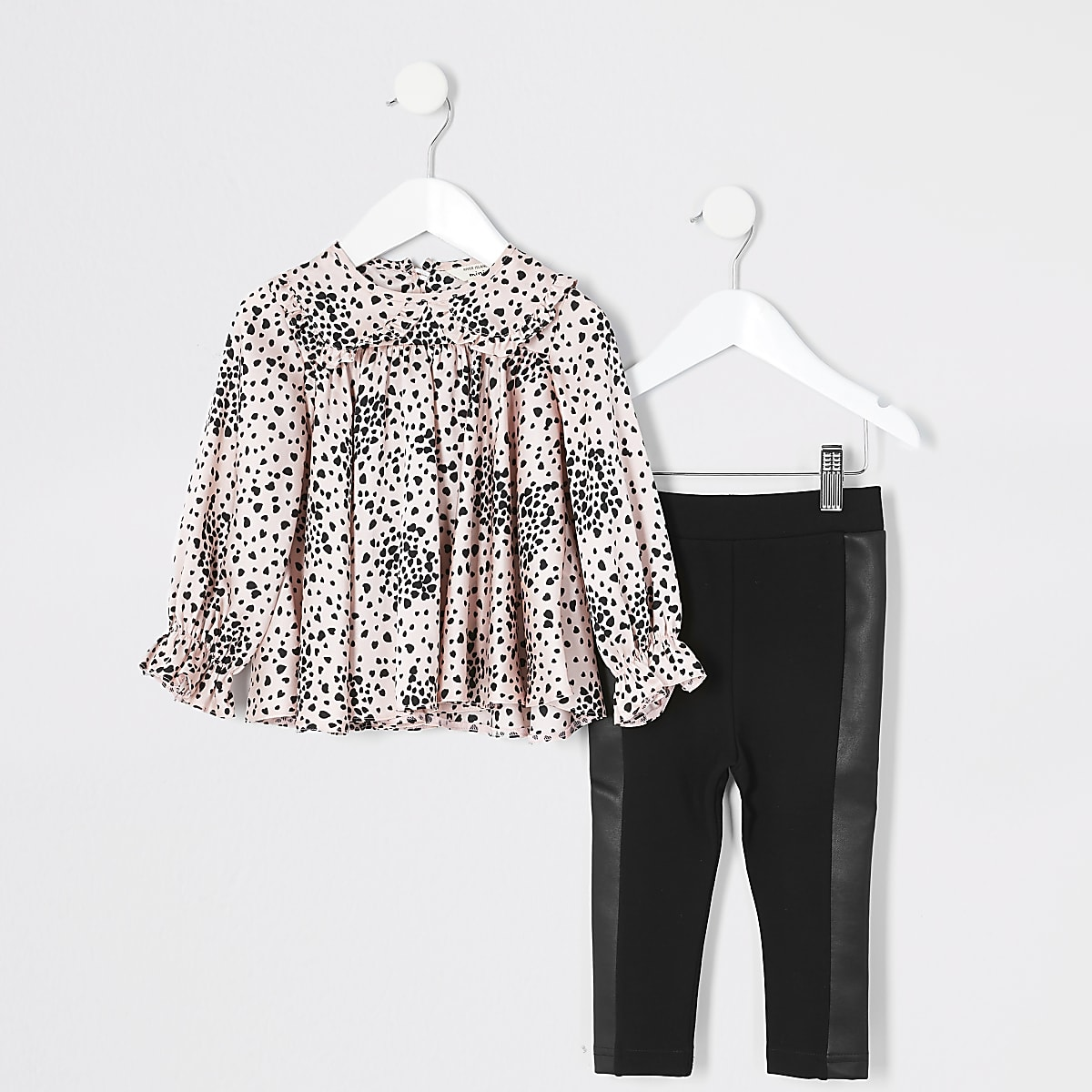 Mini girls pink print frill blouse outfit