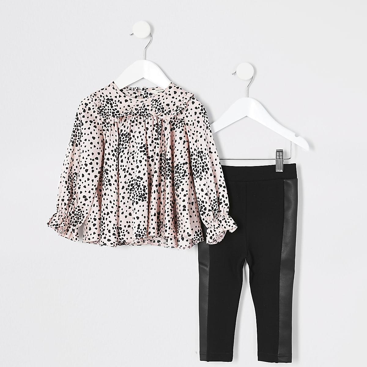 Mini - Roze blouse outfit met print en ruches voor meisjes