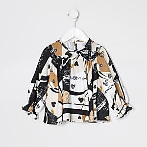 Mini - Bruine blouse met franje en hartjesprint voor meisjes