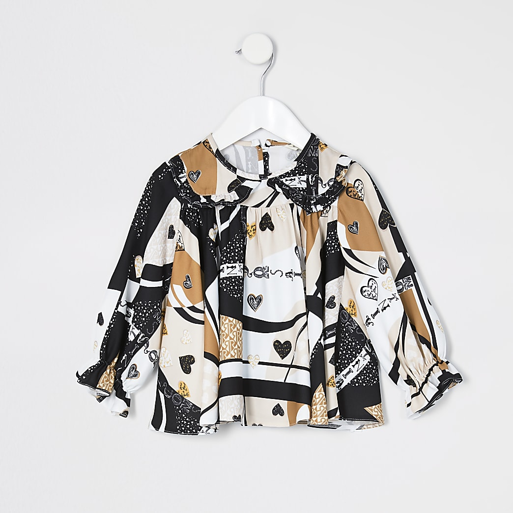 Mini girls brown heart print frill blouse