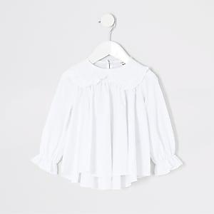 Top blanc en popeline avec colà volants Minifille