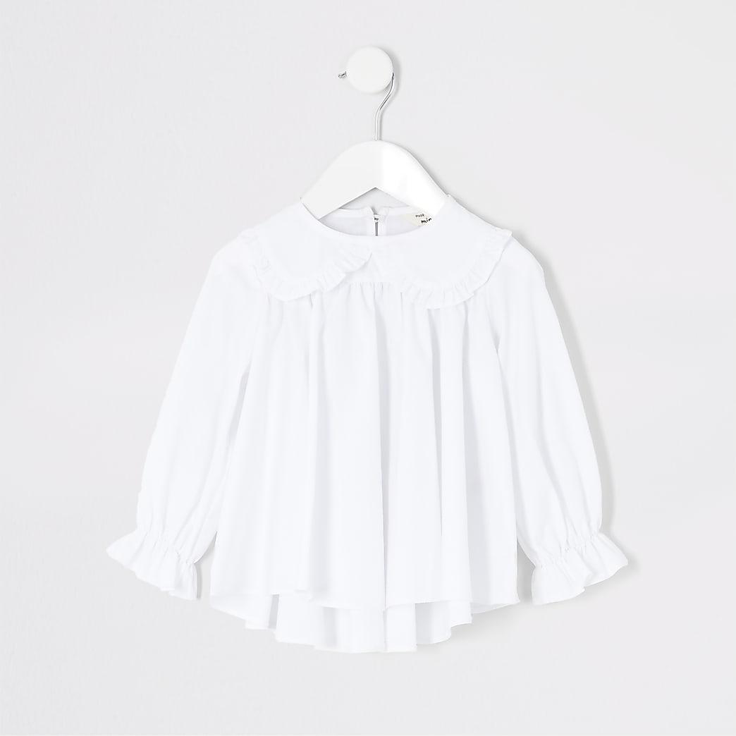 Mini girls white frill collar poplin top