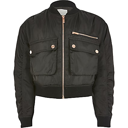 Girls black rose gold button bomber jacket