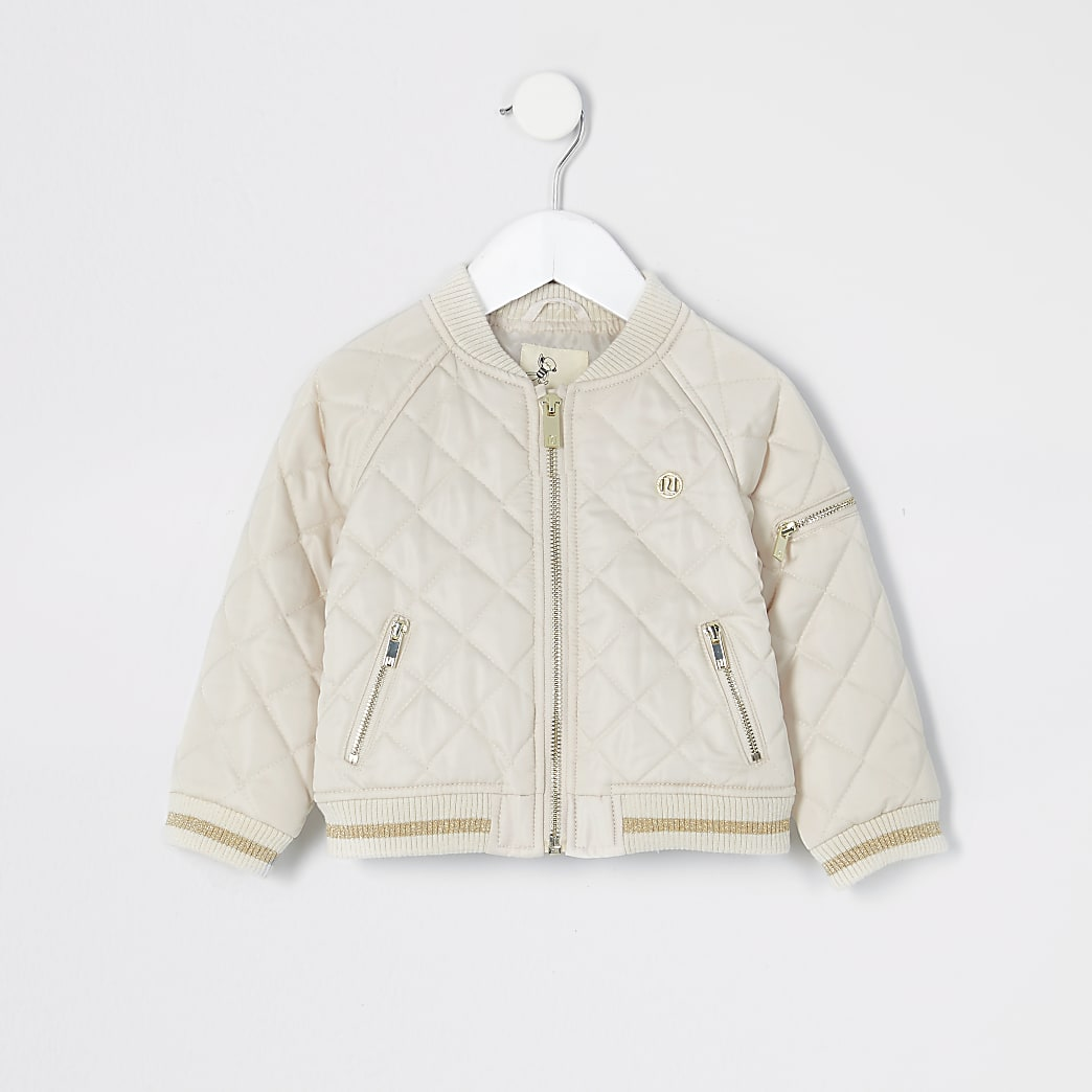 Mini girls cream quilted bomber jacket