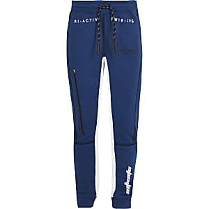 RI Active - Blauwe joggingbroek met vlakken voor jongens