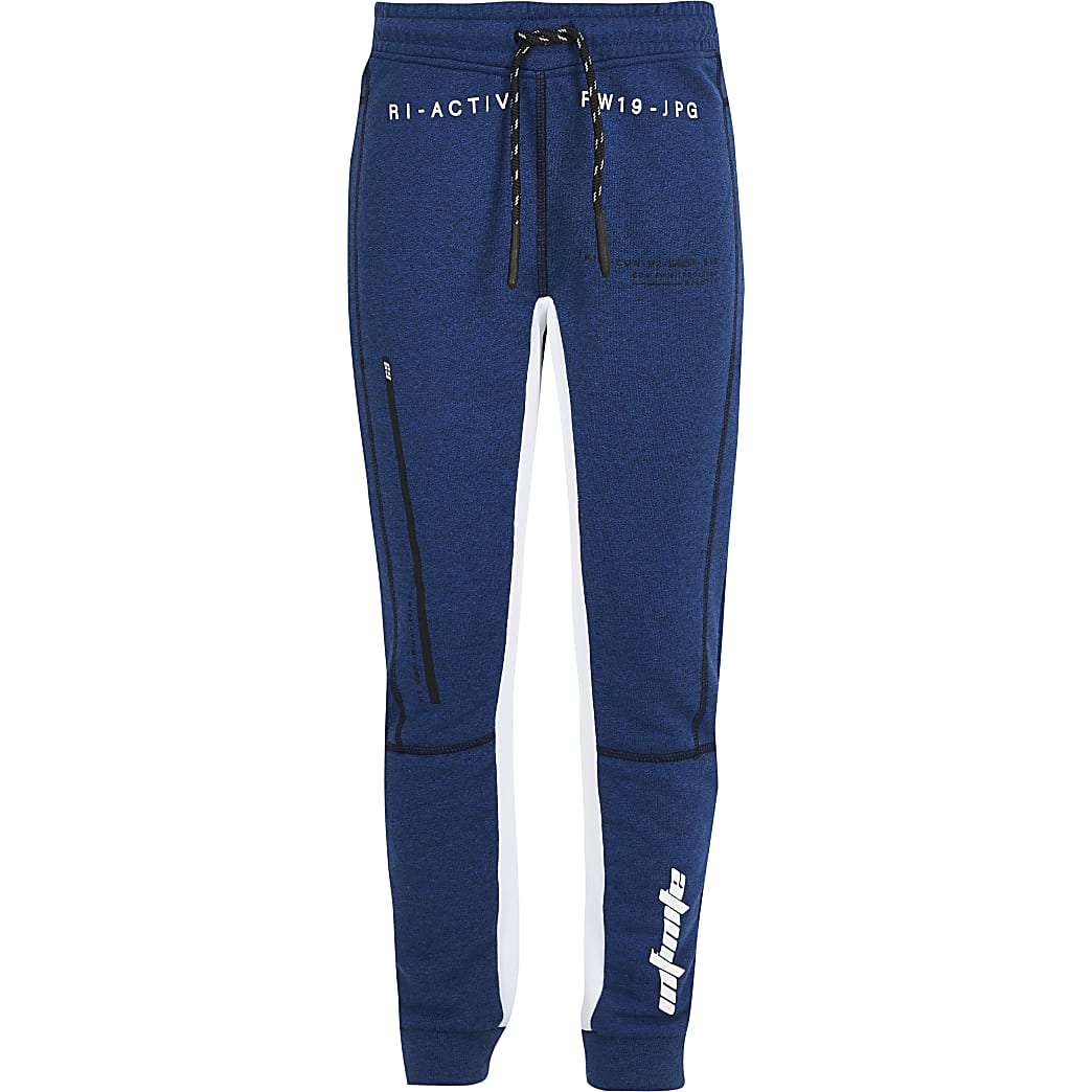 Boys RI Active blue panelled joggers