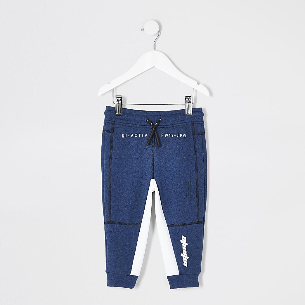 Mini - RI Active - Blauwe joggingbroek met vlakken voor jongens