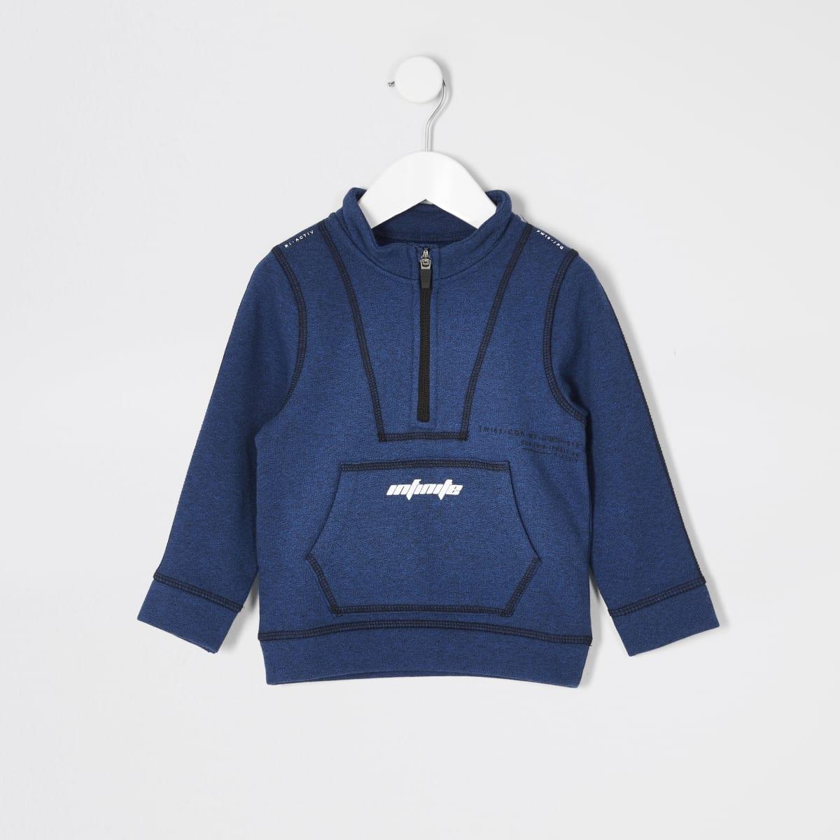 Mini - RI Active - Blauwe sweater met trechterhals voor jongens