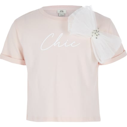 Girls pink 'Chic' oversized bow T-shirt