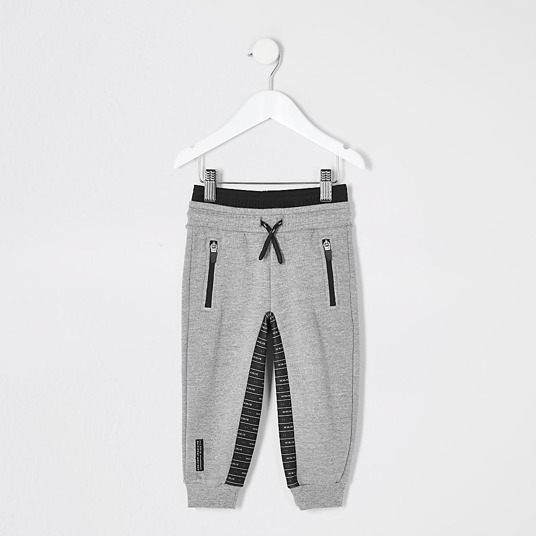 Mini boys RI Active grey panelled joggers