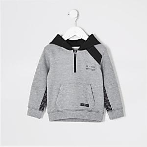 Mini - RI Active - Grijze hoodie met bies voor jongens