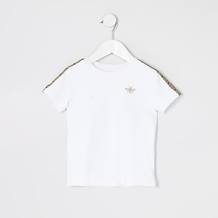 Mini boys white tape short sleeve T-shirt