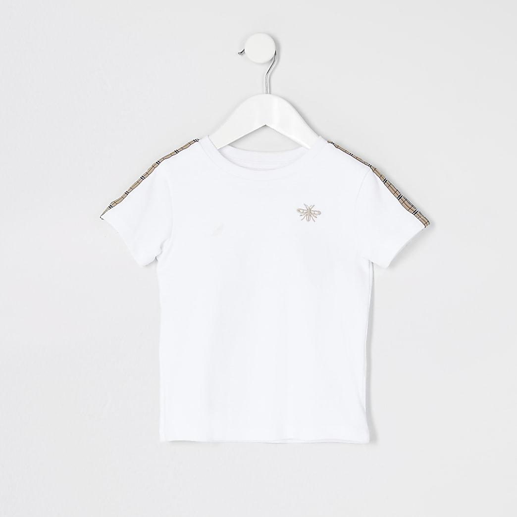 Mini boys white tape short sleeve T-shirt