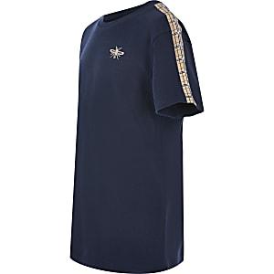 Marineblauw geruit T-shirt met korte mouwen voor jongens