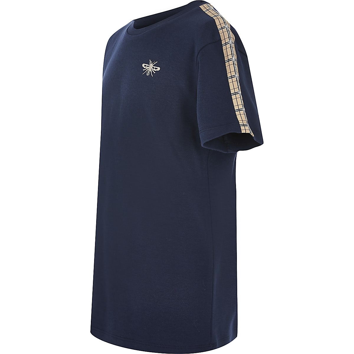 T-shirt bleu marineà manches courtes avec bandeà carreaux pour garçon