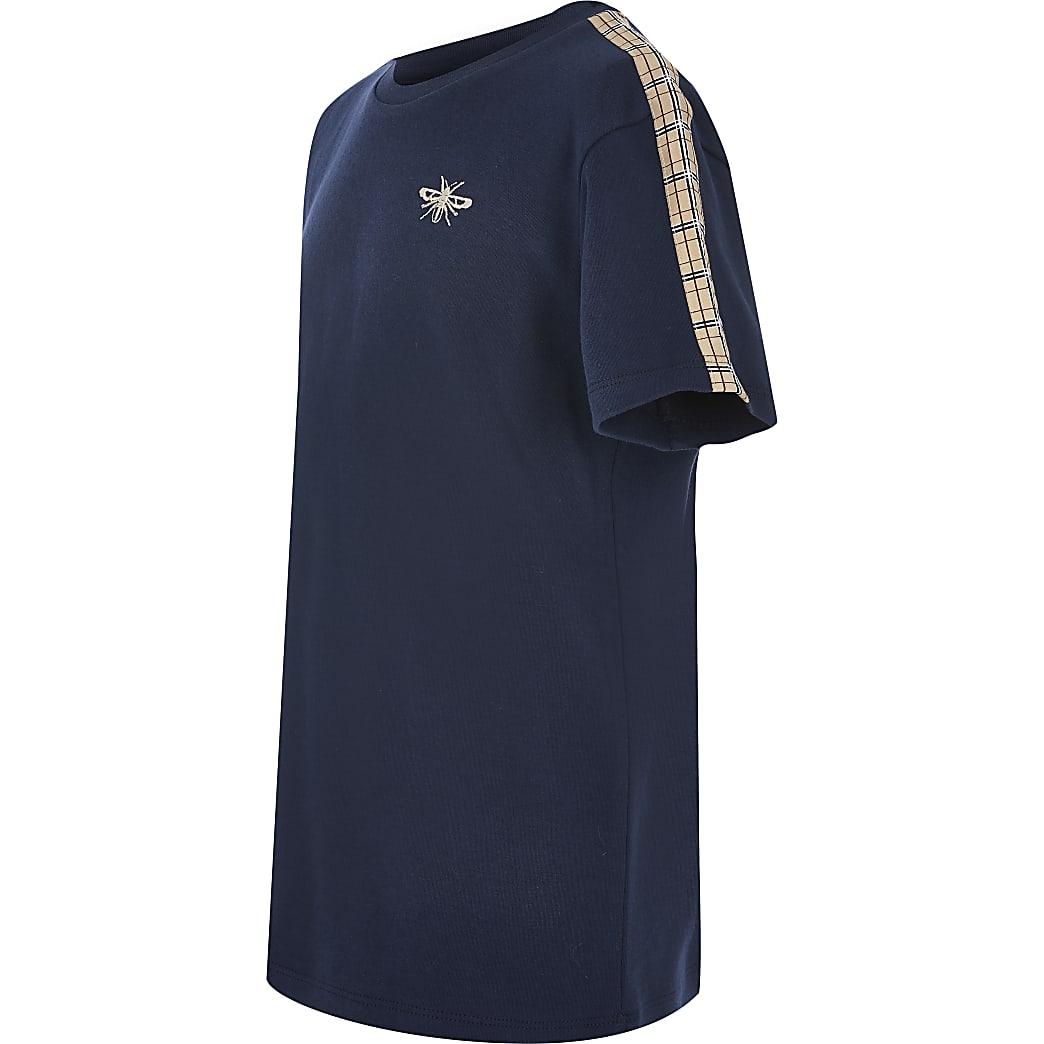 Boys navy check tape short sleeve T-shirt