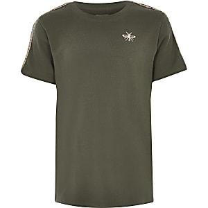 Kaki  T-shirt met korte mouwen metgeruit tape voor jongens