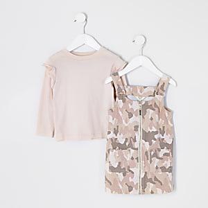 Tenue avec robe chasuble rose camouflage Mini fille