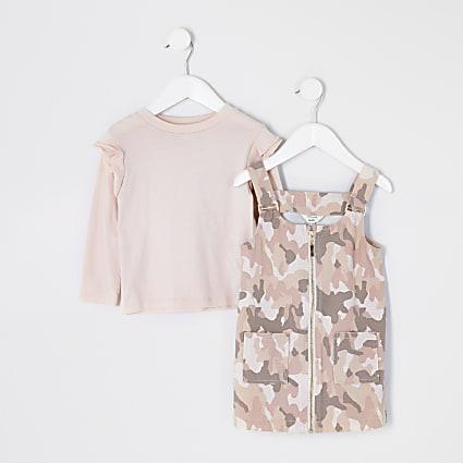 Mini girls pink camo pinafore dress outfit