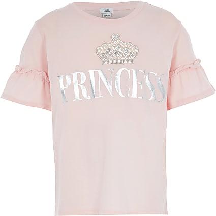 Girls pink 'Princess' embellished T-shirt