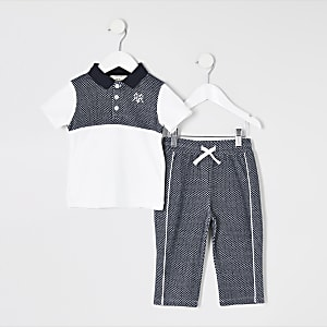 Mini – Blaues, strukturiertes Poloshirt-Outfit für Jungen