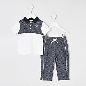 Mini - Outfit met blauw poloshirt met textuur voor jongens
