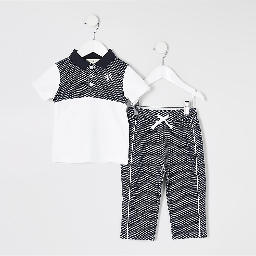 Mini boys blue textured polo shirt outfit