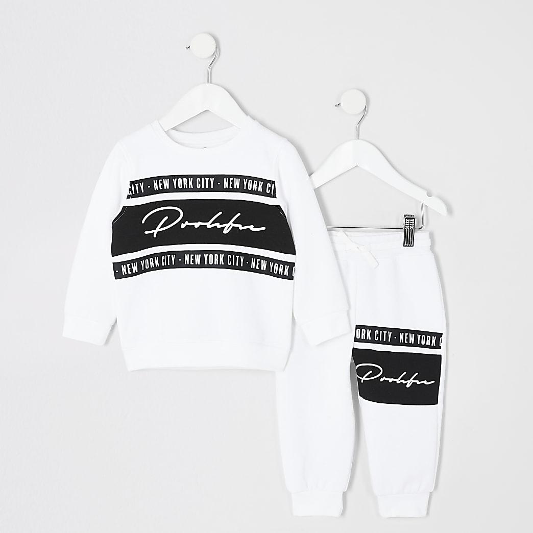 Mini boys white Prolific sweatshirt outfit