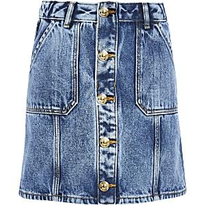 Blauwe denim A-lijnrokmet knopen voor meisjes
