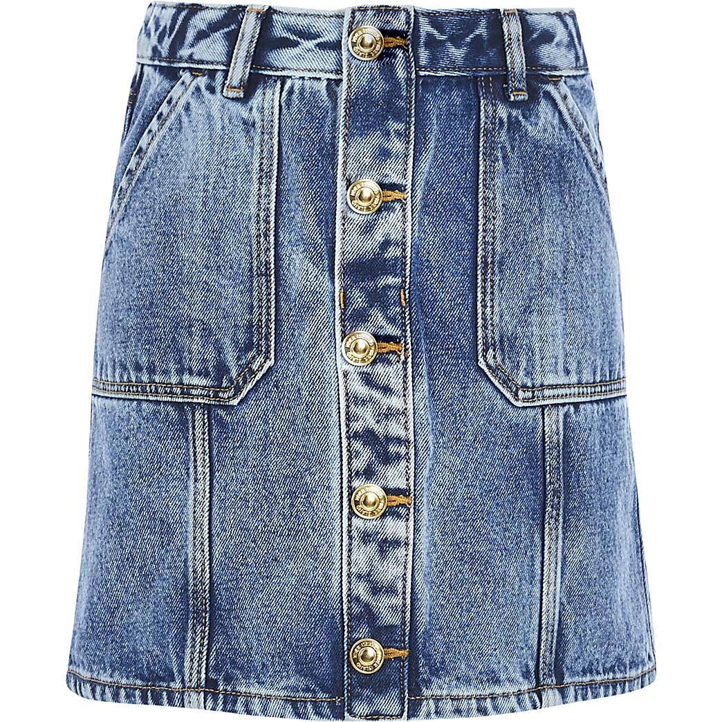 Girls blue button front denim A line skirt