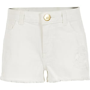 Girls white ripped Becca relaxed denim shorts
