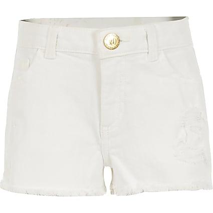 Girls white ripped Becca relaxed denim shorts