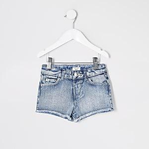 Mini - Becca - Blauwe relaxte denim short voor meisjes