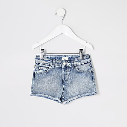 Mini girls blue Becca relaxed denim shorts