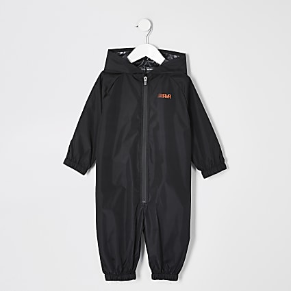 Mini boys black RVR rain mac all in one