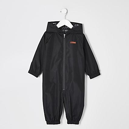 Mini boys black RVR rain mac all in one