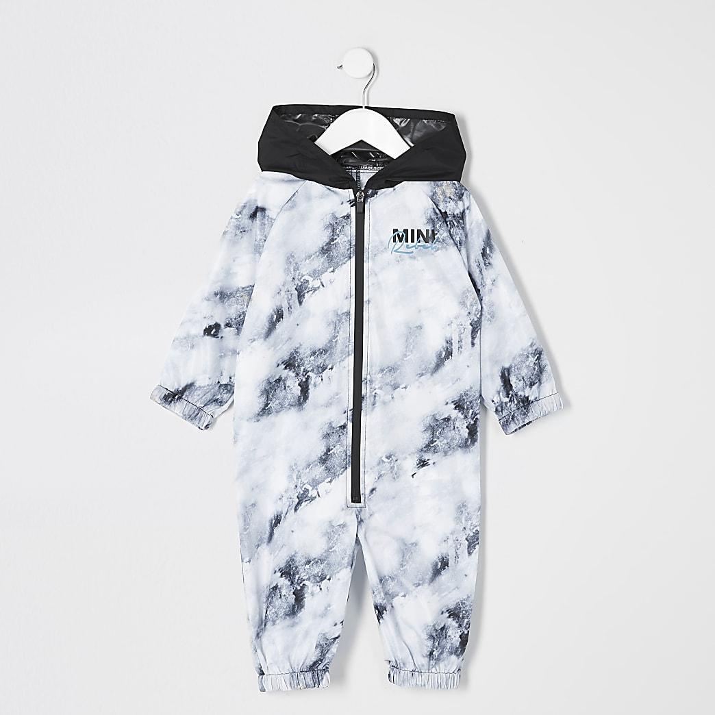 Mini boys white printed rain mac all in one